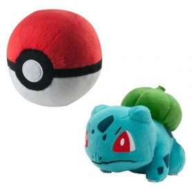 Peluche Pokemon Bulbizarre avec Pokeball