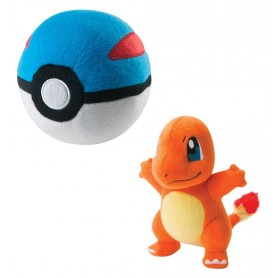 Peluche Pokemon Salamèche avec Super Ball